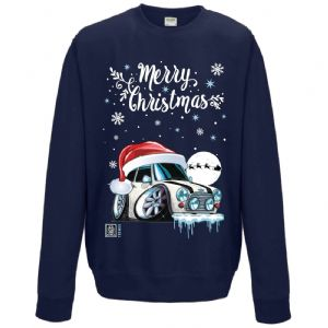 Premium Koolart Christmas Santa Hat Design & Classic Mini Cooper car gift Sweatshirt Jumper
